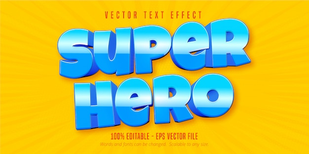Texto de superhéroe, efecto de texto editable de estilo de juego móvil
