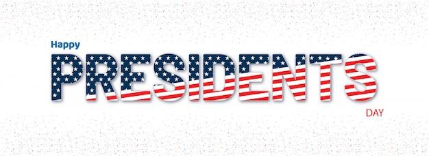 Texto tipográfico president day en el patrón de la bandera americana