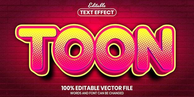 Texto de toon, efecto de texto editable de estilo de fuente