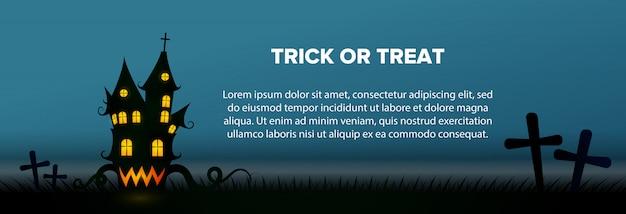 Texto de truco o trato con banner de casa embrujada y cementerio