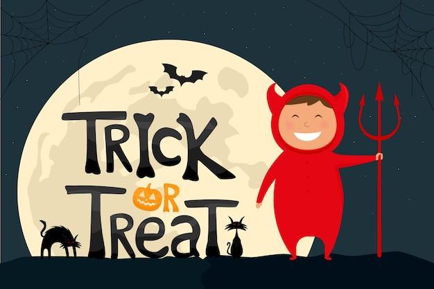 Texto de truco o trato con un niño en la ilustración de vector de disfraz de diablo de halloween