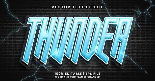 Texto de trueno, estilo de efecto de texto de brillo azul sobre fondo oscuro