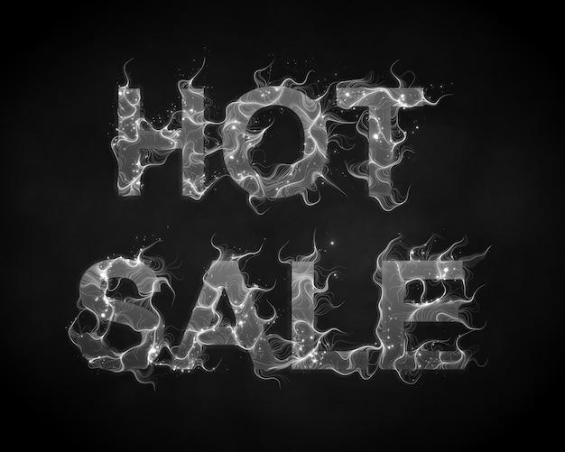 Texto de venta caliente de vector con fondo de llamas de humo