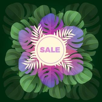 Texto de venta en círculo blanco sobre fondo de hojas en diseño realista
