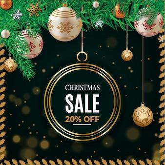 Texto de venta de navidad para promoción con una plantilla de fondo de hojas y adornos navideños