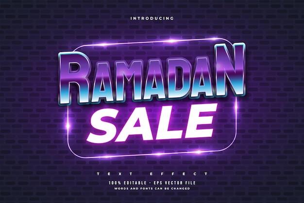 Texto de venta de ramadán en estilo retro y colorido con efecto de neón brillante