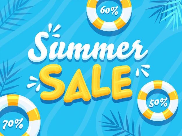 Texto de venta de verano 3d con diferentes ofertas de descuento y anillos de natación sobre fondo azul.