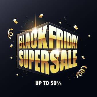 Texto de venta de viernes negro dorado