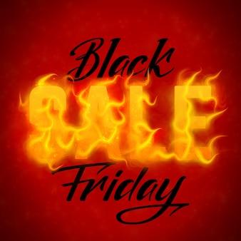 Texto de venta de viernes negro de vector con fondo de llamas de fuego naranja