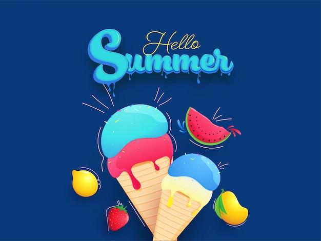 Texto de verano azul efecto de goteo con conos de helado y frutas realistas sobre fondo azul.