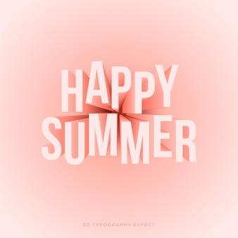 Texto de verano en efecto 3d tipográfico con colores melocotón