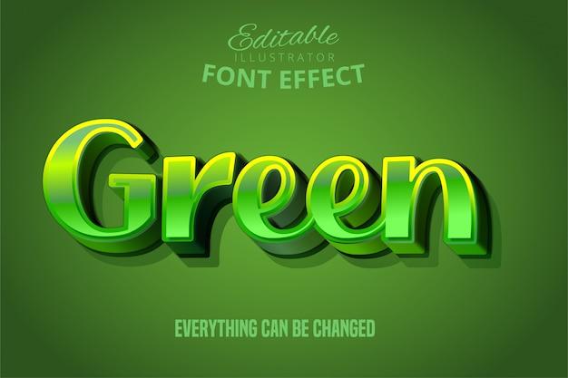 Texto verde, efecto de fuente editable 3d