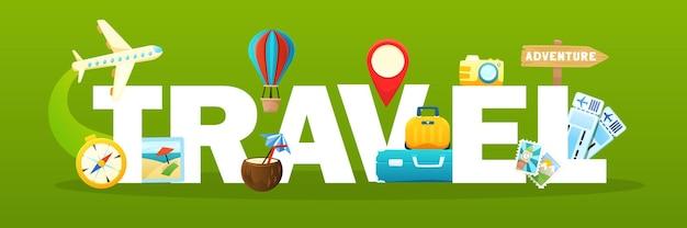 Texto de viaje con elementos de viaje.