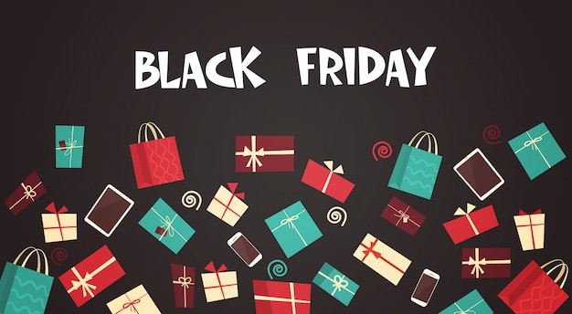 Texto del viernes negro con diferentes cajas de regalo