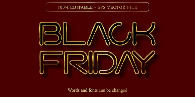 Texto de viernes negro, efecto de texto editable estilo dorado