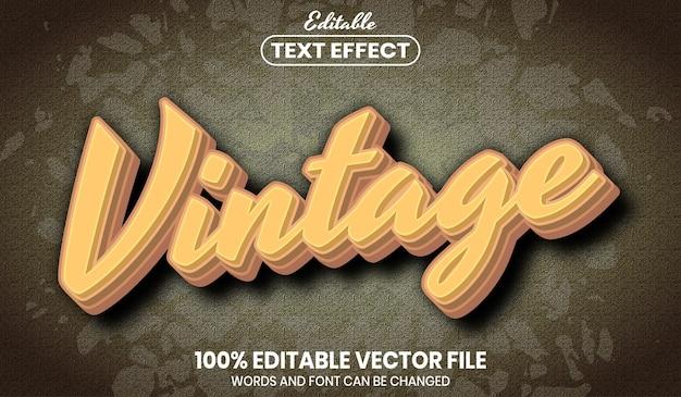 Texto vintage, efecto de texto editable de estilo de fuente