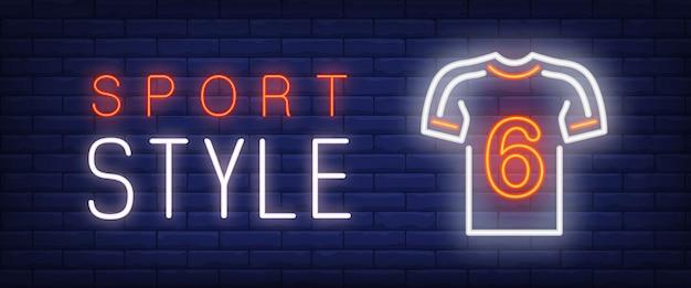 Texto y camiseta de neón estilo deportivo