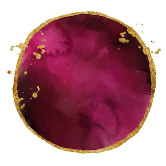 Textura abstracta de la mancha de acuarela de borgoña y oro