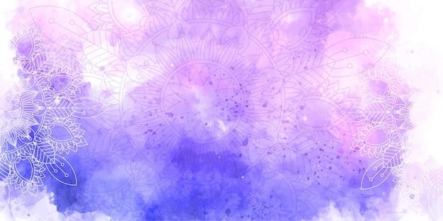 Textura de acuarela decorativa y diseño de mandala.