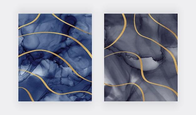 Textura de acuarela con líneas de brillo dorado