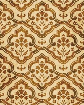 Textura de acuarela marrón, patrón sin costuras, flor cruzada espiral curva oriental