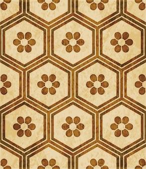 Textura de acuarela marrón, patrones sin fisuras, marco de polígono hexagonal flor redonda