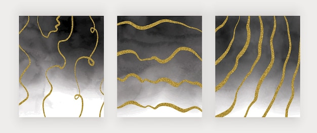 Textura de acuarela negra con líneas a mano alzada de brillo dorado