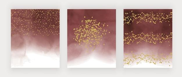Textura de acuarela roja con confeti dorado