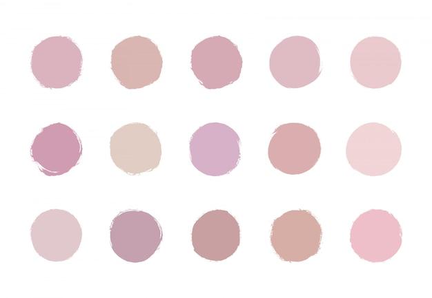 Textura de acuarela de trazo de pincel rosa pastel suave redondo. oro rosa, lavados de círculo desnudo.