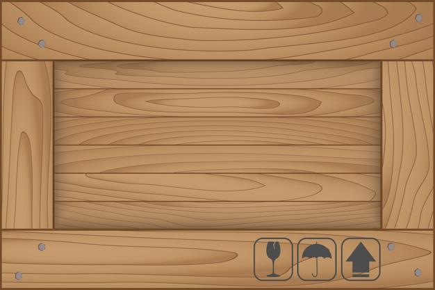 Textura de la caja de madera y símbolo frágil sobre fondo blanco