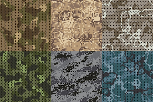 Textura de color caqui de camuflaje. conjunto de texturas de patrón de red de camuflaje de bosque y arena sin costura de tela del ejército
