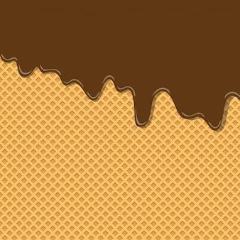 Textura dulce amarga del helado del sabor de la crema del chocolate del cacao en modelo del fondo de la oblea