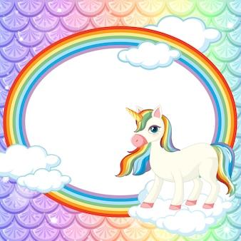 Textura de escamas de pescado pastel con marco ovalado de arco iris con personaje de dibujos animados de unicornio