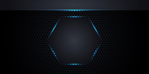 Textura de fibra de carbono con panal. fondo abstracto de metal oscuro con un hexágono en el centro con luces de neón y líneas luminosas.