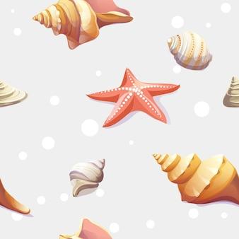 Textura sin fisuras con la imagen de conchas marinas