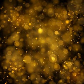 Textura de fondo abstracto negro y dorado brillo y elegante para navidad polvo blanco partículas de polvo mágico espumoso concepto mágico fondo abstracto con efecto bokeh vector