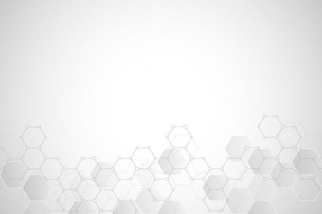 Textura de fondo geométrico con estructuras moleculares y compuestos químicos.