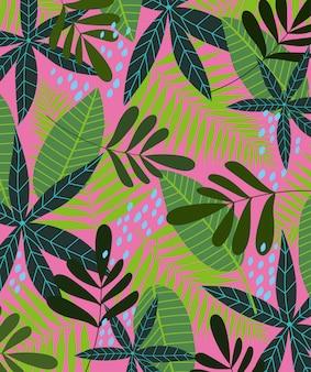 Textura de hojas tropicales crecimiento exótico fondo de temporada floral