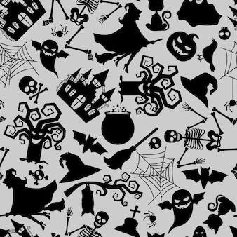 Textura inconsútil del modelo del vector con los iconos tradicionales del día de fiesta de halloween