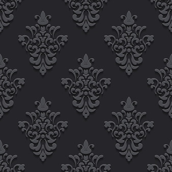 Textura de lujo elegante negro con sombras. patrón de fondo transparente, sin fin y repetición, ilustración vectorial