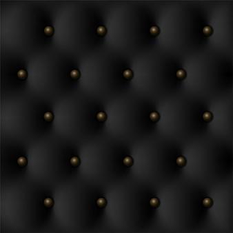 Textura de lujo vintage de cuero negro con fondo de botones