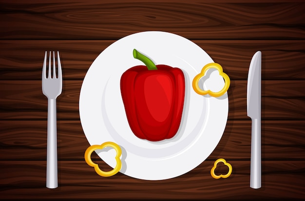 Textura de madera de excelente calidad, mesa, tapa, pimientos en un plato, rodajas de pimiento.