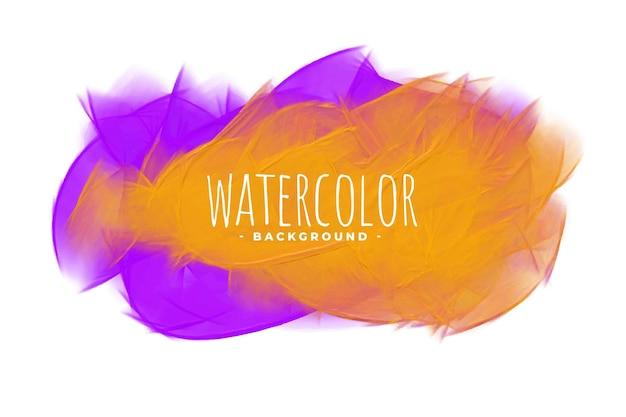 Textura de mancha de mezcla de acuarela abstracta naranja y púrpura