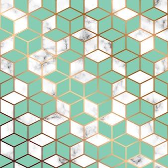 Textura de mármol del vector, diseño de patrones sin fisuras con líneas y cubos geométricos de oro