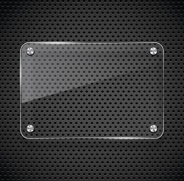 Textura de metal con marco de vidrio.