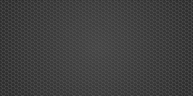 Textura metálica - fondo de rejilla metálica, hexágono de fondo de textura negra