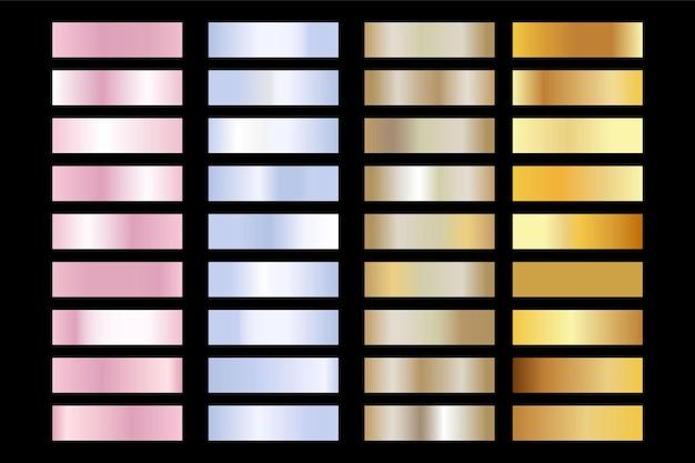 Textura de oro, plata, rosa rosa. conjunto de gradiente de lámina de metal dorado brillante