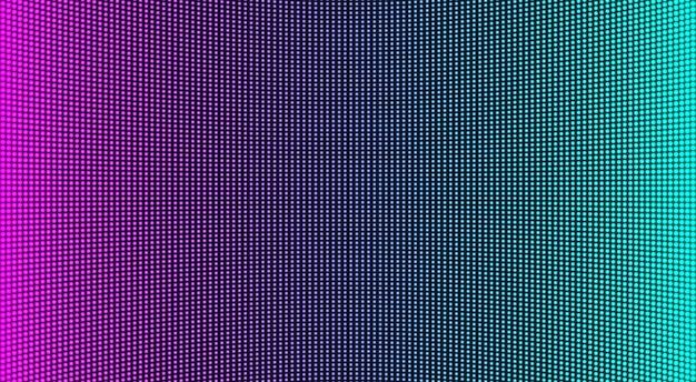 Textura de pantalla led. monitor digital lcd. pantalla analógica. efecto de diodo electrónico. videowall de televisión en color. plantilla de cuadrícula del proyector. fondo pixelado con puntos. ilustración vectorial.