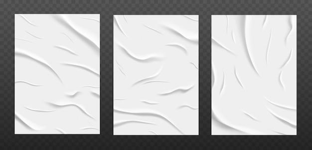 Textura de papel blanco pegado, conjunto de hojas de papel arrugado húmedo.