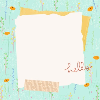 Textura de papel de marco de campo de flor de verano